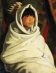 Indian girl in White Ceremonial Blanket. 1917