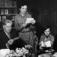 Cecil Day Lewis, his son Daniel and wife Jill reading some of the many letters