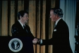Dr. Denton Cooley being congratulated by President Ronald Reagan for Medal of Freedom