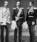 Roon, center, with Bismarck (left) and Moltke (right). The three leaders of Prussia in the 1860s